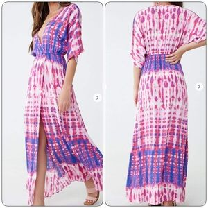 NWT Forever 21 Pink & Purple Tie Dye Maxi Dress